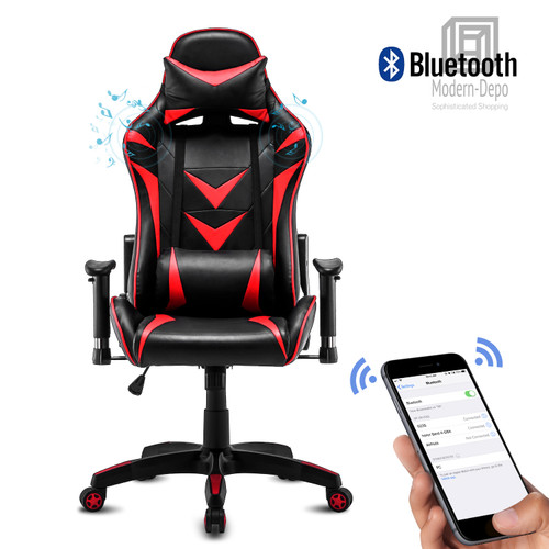 High-Back Swivel Gaming Chair Recliner with Bluetooth 4.1 Speakers & Lumbar Support & Headrest | Height Adjustable Ergonomic Office Desk Chair - Black & Red