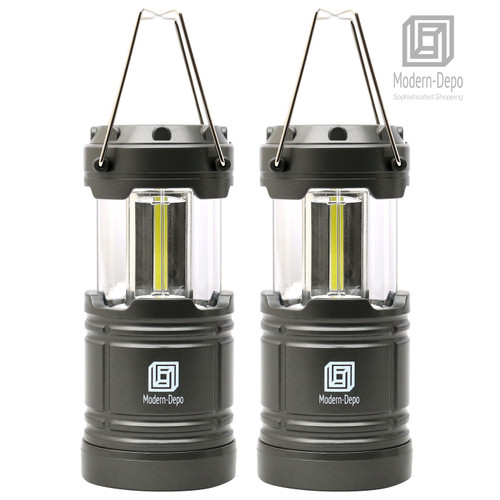 2-Pack LED Camping Lantern Battery Operated Portable Flashlights with Magnets | Collapsible Waterproof Shockproof COB LED Technology Emits 350 Lumens for Emergency Hurricane Outage (Silver)
