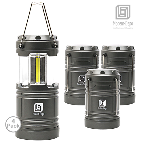 4-Pack LED Camping Lantern Battery Operated Portable Flashlights with Magnets   Collapsible Waterproof Shockproof COB LED Technology Emits 350 Lumens for Emergency Hurricane Outage (Silver)