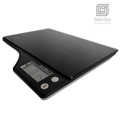 Digital Kitchen Food Scale with Electronic LCD | 11 lb 5 kg Black Glass Surface | 2 AAA Batteries Included