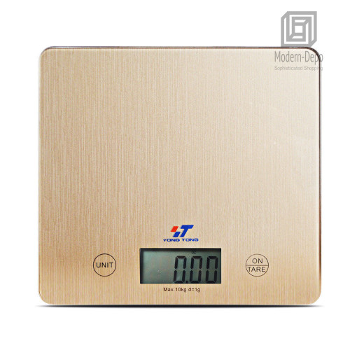 Digital Kitchen Food Scale with Electronic LCD | 11 lb 5 kg Gold Glass  Surface | 2 AAA Batteries Included