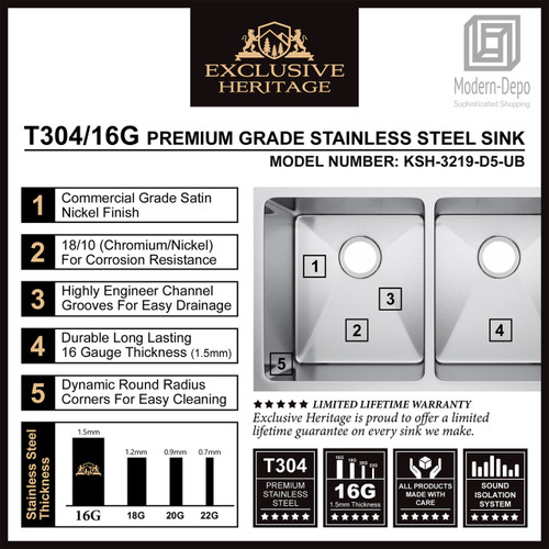 """Exclusive Heritage 32"""" x 19"""" Double Bowl 50/50 Undermount Stainless Steel Kitchen Sink"""