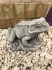 A limestone frog statue.