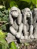 A trio of Stone Monkey Garden Ornament Statues