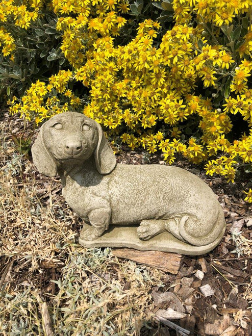 Reconstituted Stone Dachshund Dog Statue Home Garden Ornament