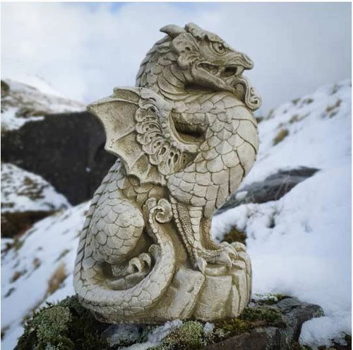 A detailed dragon stone statue, a garden ornament. Figure Sculpture Concrete Reconstituted Mythical Wyrm scaly