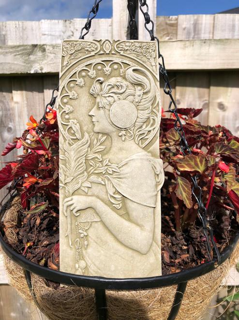 Reconstituted Stone Art Nouveau Lady Plaque Statue Home Garden Ornament