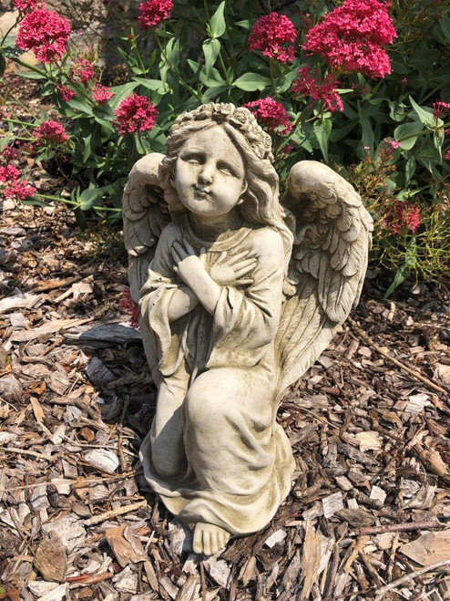 Reconstituted Stone Kneeling Angel Cherub Statue Home Garden Ornament