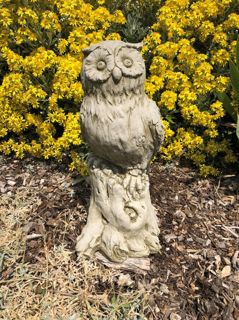 Reconstituted Stone Owl Statue Home Garden Ornament