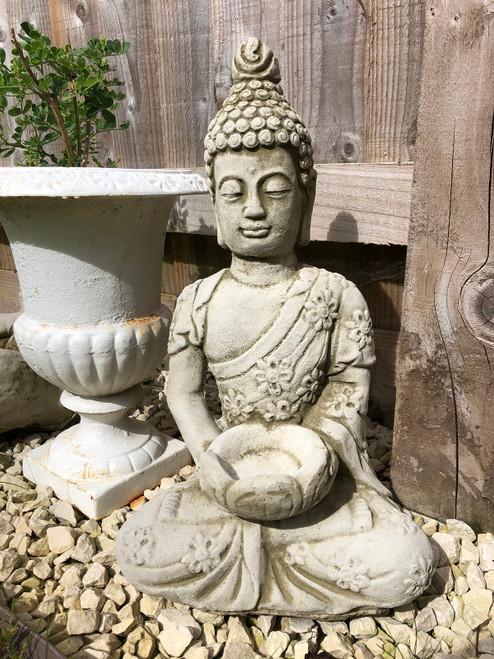 Reconstituted Stone Oriental Tealight Buddha Home Garden Statue