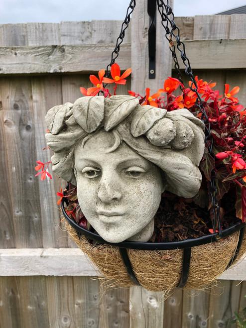 Stone Concrete Garland Girl Wall Planter Garden Ornament
