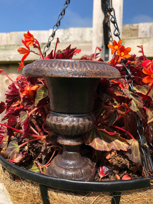 Cast Iron Trumpet Fluted Urn Vase Home Garden Ornament Planter