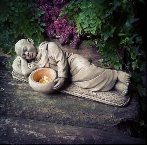 Reconstituted Stone Laying Tealight Monk Statue