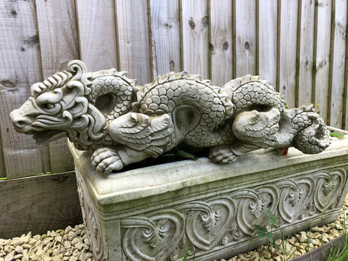 Reconstituted Stone Oriental Chinese Dragon Statue Home Garden Ornament