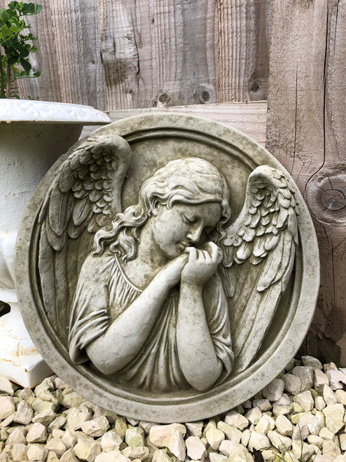 Reconstituted Stone Angel Fairy Cherub Plaque Statue Home Garden Ornament