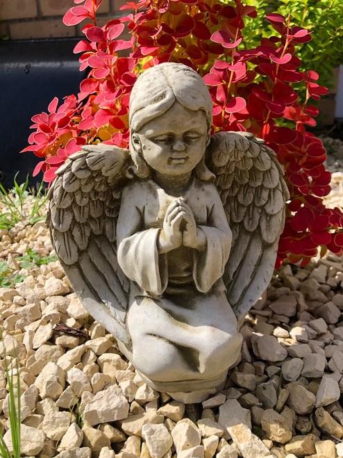 Reconstituted Stone Praying Angel Cherub Home Garden Ornament