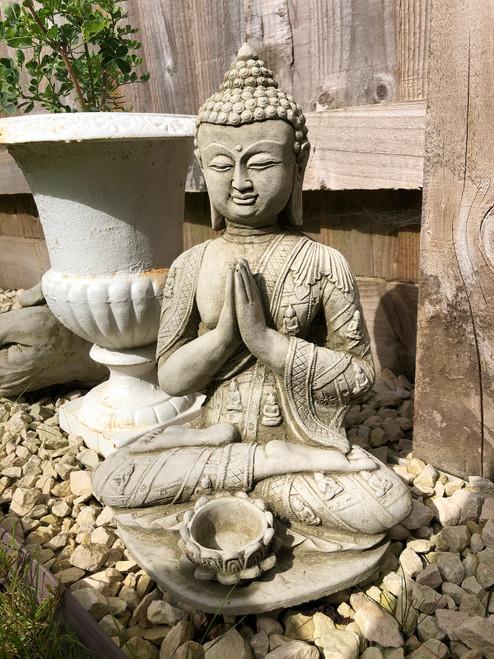 Reconstituted Stone Oriental Tealight Buddha Home Garden Ornament