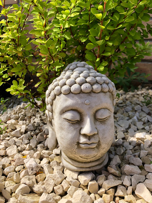 Reconstituted Stone Buddha Bust Statue Home Garden Ornament
