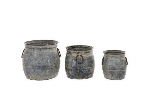 Set of 3 or Single Ollam Galvanised Zinc Metal Pot Planters