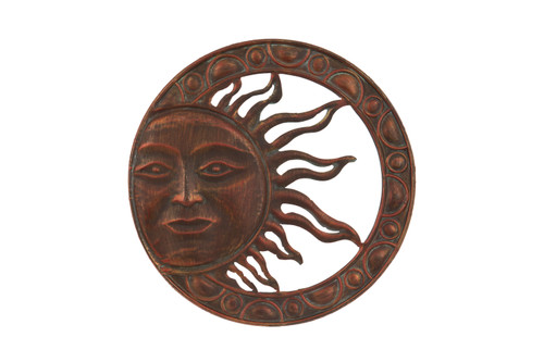 Large Round Metal Red Sun Wall Plaque