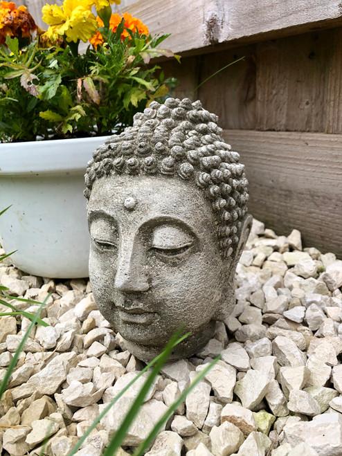 Reconstituted Stone Oriental Buddha Head Bust