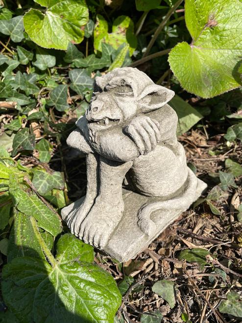 Reconstituted Stone Sitting Gremlin Statue