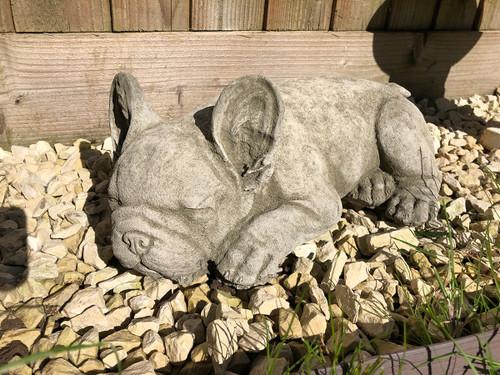 Reconstituted Stone French Bulldog  Home Garden Statue