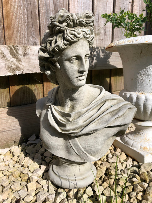 Reconstituted Stone Apollo Bust Home Garden Statue