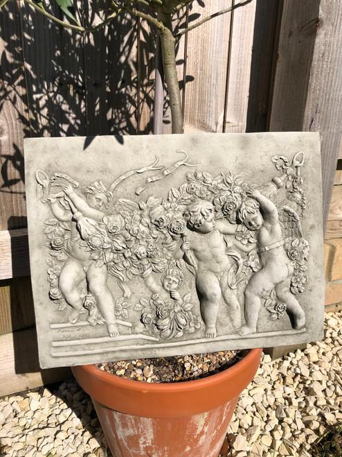 Reconstituted Stone Roman Cherub Rose Plaque Sign Home Garden Statue