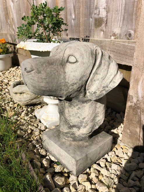 Reconstituted Stone Hunting Hound Pointer Bust Home Garden Statue
