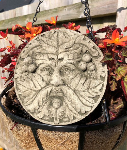 Reconstituted Stone Green Man Plaque Home Garden Statue