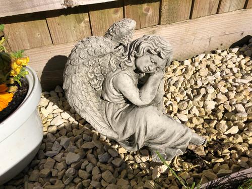 Reconstituted Stone Winged Cherub Angel Home Garden Statue