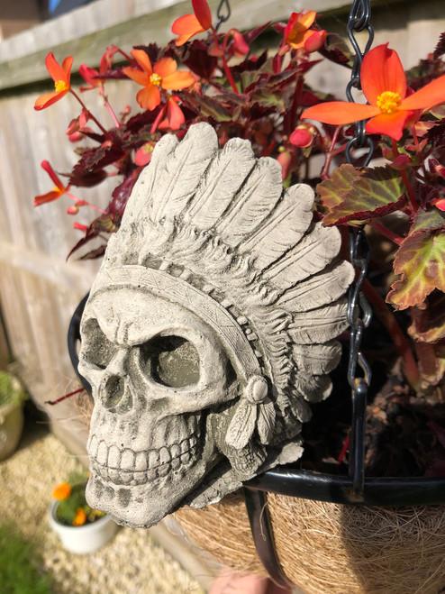 Reconstituted Stone Mohawk Skull Home Garden Statue