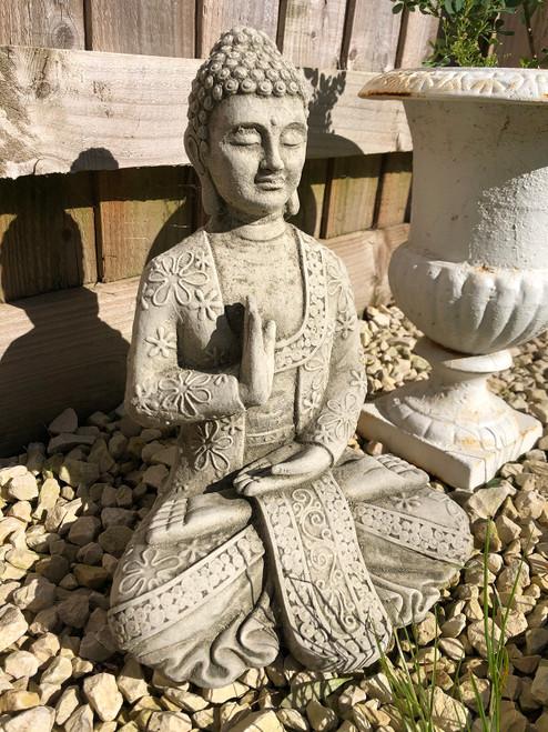 Reconstituted Stone Meditating Oriental Buddha Garden Home Statue