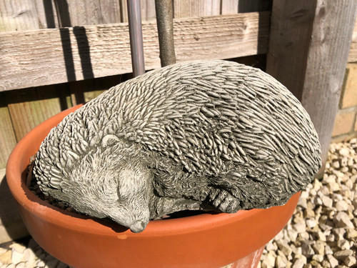 Reconstituted Stone Sleeping Hedgehog Home Garden Statue