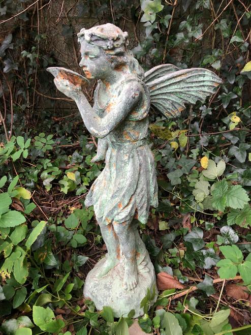 Cast Iron Antique Verdigris Style Home Garden Angel Fairy Ornament