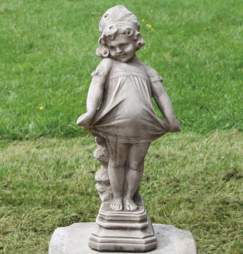 Reconstituted Stone Limestone Victorian Girl Garden Ornament Statue