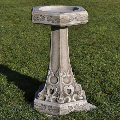 Reconstituted Stone Limestone Birdbath Feeder Art Nouveau Garden Ornament Statue