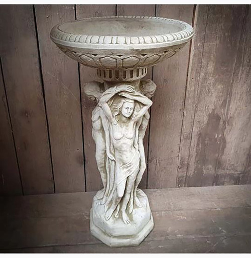 Reconstituted Stone Three Graces Birdbath Feeder Garden Ornament Statue