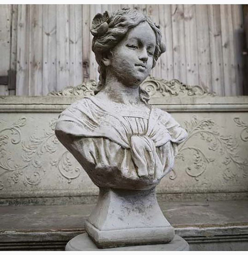 Reconstituted Stone Floral Lady Bust Garden Ornament Statue
