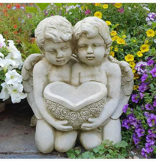 Reconstituted Stone Large Cherub Bird Bath Feeder Garden Ornament Statue