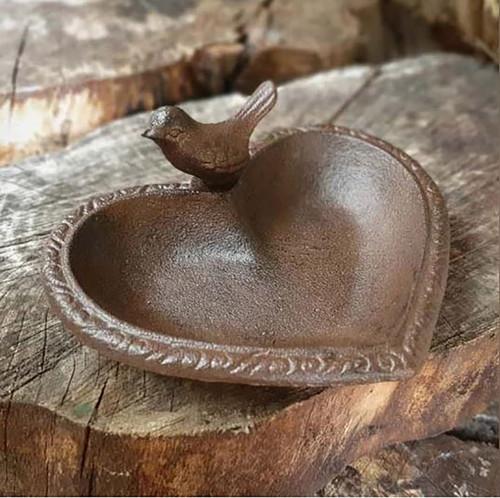 Cast Iron Heart Bird Bath Feeder Garden Ornament