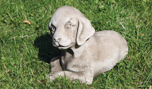 Stone Limestone Puppy Dog Garden Ornament Statue