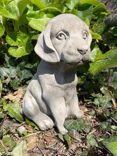 Stone Limestone Puppy Dog Garden Ornament Statue