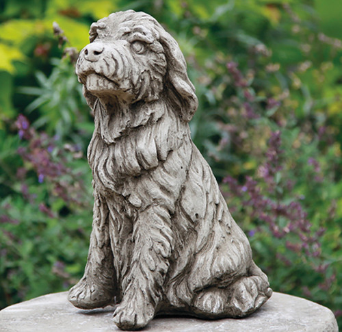 Stone Limestone Bearded Collie Dog Garden Ornament Statue
