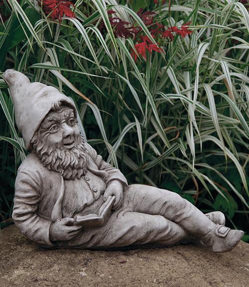 Stone Limestone Reading Gnome Garden Ornament Statue