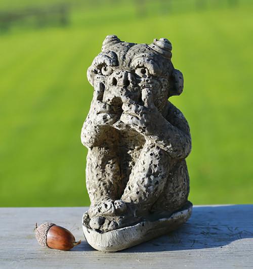 Stone Horned Gargoyle Garden Ornament Statue