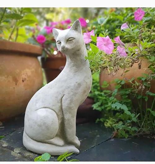 Stone Siamese Cat Kitten Garden Ornament Statue