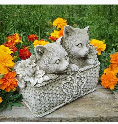 Stone Cat Kitten Planter Trough Garden Ornament Statue
