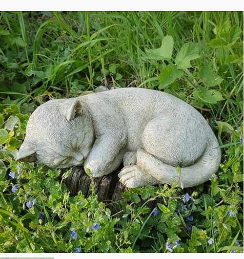Stone Kitten Cat Garden Ornament Statue